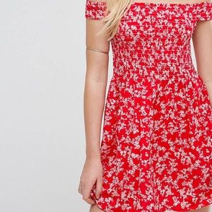 ASOS red floral off the shoulder dress